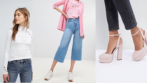 High-Neck Roll Top, Cropped Wide Legs Jeans & Disco Platforms