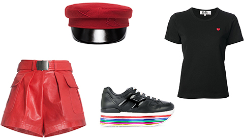 How to Pull Off Red Leather Shorts
