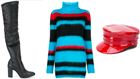 Blue Red and Black Knits