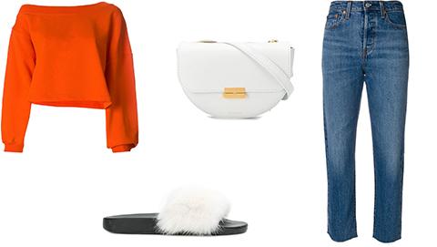 Furry Sliders & Mom Jeans